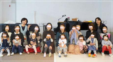 幼児教室のフィオーレコース(2歳児)で、1年間の活動のしめくくりにお母様といっしょにみんなで写真をとりました。