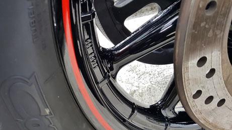 ハーレー・ロードキングのホイールコーティング完成 埼玉のバイク磨き専門店