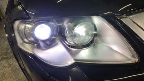 パサートR36のヘッドライトのひび除去後 ライトを点灯してもクラックが目立たない