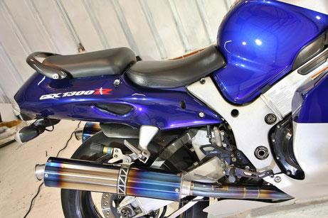 GSX1300R隼のガラスコーティング完成 カウルの傷除去 埼玉 バイクコーティング