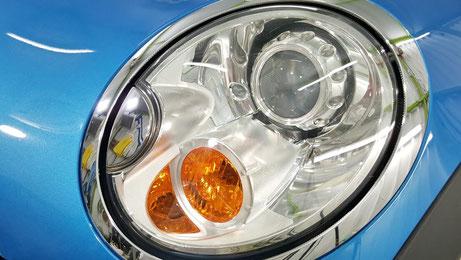 ミニR56のヘッドライトコーティング・リペア完成