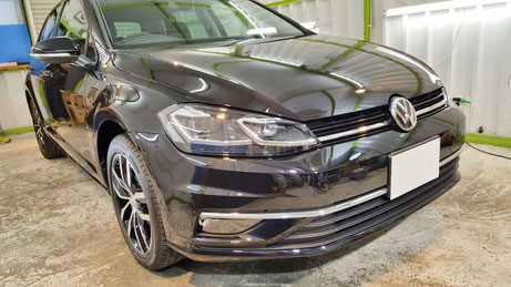 ゴルフ7のセラミックコーティング 塗装が新車以上の艶 濃色車の施工 埼玉の車磨き専門店