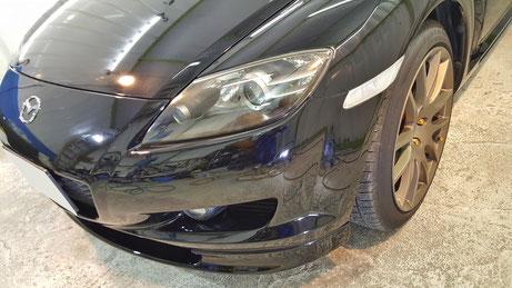 シミ・傷除去後のRX‐8 黒い車の水アカ汚れ改善