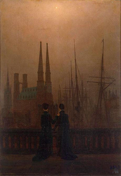 Caspar David Friedrich, Die Schwestern auf dem Söller am Hafen, um 1820, Öl auf Leinwand, Staatliches Eremitage Museum, St. Petersburg