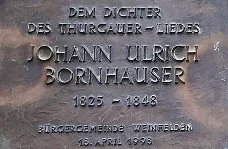 J. U. Bornhauser wohnte im Haus des heutigen Schuhgeschäfts Tiefenbacher beim Marktplatz