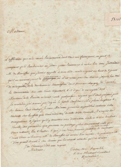 Nicolas LE DEIST DE KÉRIVALANT lettre autographe signée
