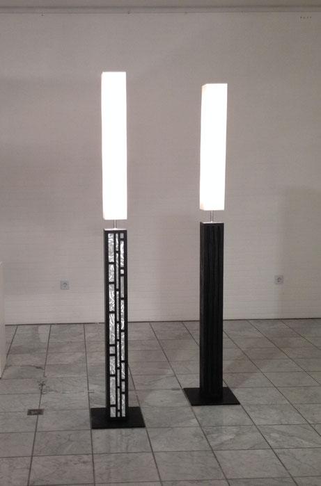 """Exposition à Hanovre 2013 - Colonne """"Senlisse"""" - Béton et aluminium     -     Colonne """"Waves"""" - Béton    -   Hauteur 1,85 m"""