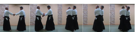 画像③いずれも2コマ目で①は右相半身、②は左相半身で両手を取らして逆半身外転換へ。