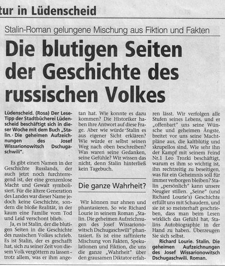 """Buchbesprechung - Artikel in der """"Westfälischen Rundschau"""""""