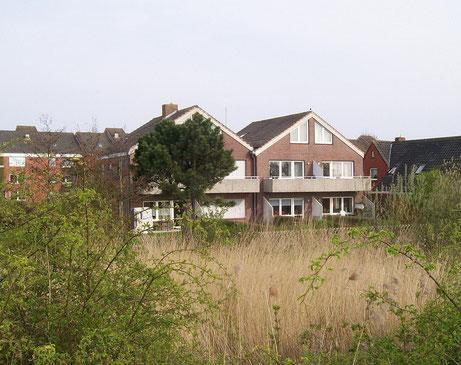 Blick vom Deich auf das Haus, in dem sich die Ferienwohnung befindet.