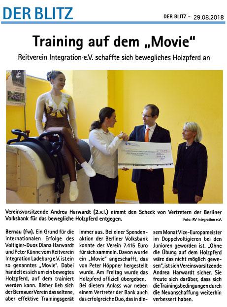 """Offizielle Übergabe des """"Movie"""" von der Berliner Volksbank an den RVI, erschienen am 29.08.2018 in """"Der Blitz"""""""
