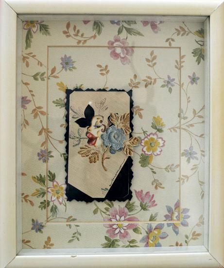 Cartas para Flo, ensayo N° 1. Collage con papel tapiz. 20 x 20 cm