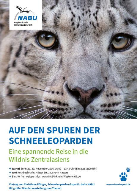 """Vortragsplakat """"Auf den Spuren der Schneeleoparden"""""""