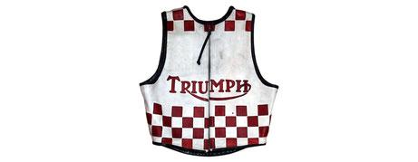 BSA Triumph Candyman leather racing suit vest