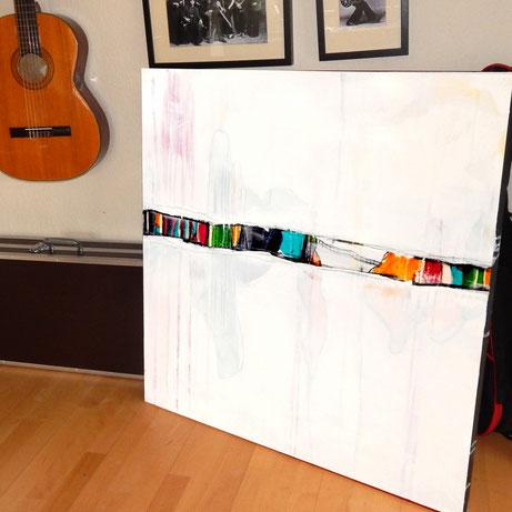 weißes gemälde 100 x 100 cm