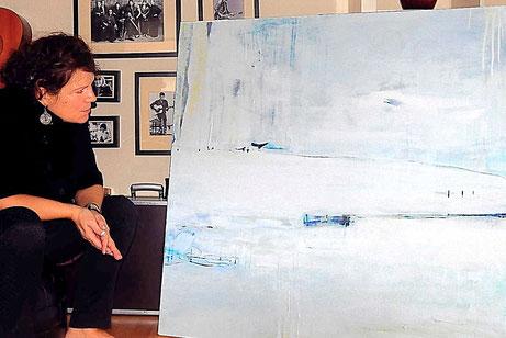 weißes abstraktes Gemälde - Eislauf