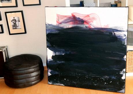 schwarzes Gemälde abstrakt