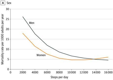 歩行数と男女別死亡率