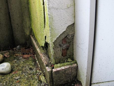 Putzschäden verursachen Wassereintritte in das Mauerwerk