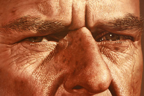 Detail of painted portrait of Breaking Bad's Hank Schrader