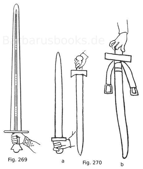 Fig. 269. Schwert eines französischen Befehlshabers aus einer Miniatur in einem Codex der zweiten Hälfte des 11. Jahrhunderts in der Nationalbibliothek in Paris. Nach Jacquemin. Fig. 270 a. b. Schwertformen aus dem Teppich von Bayeux. Ende des 11. Jahrhun