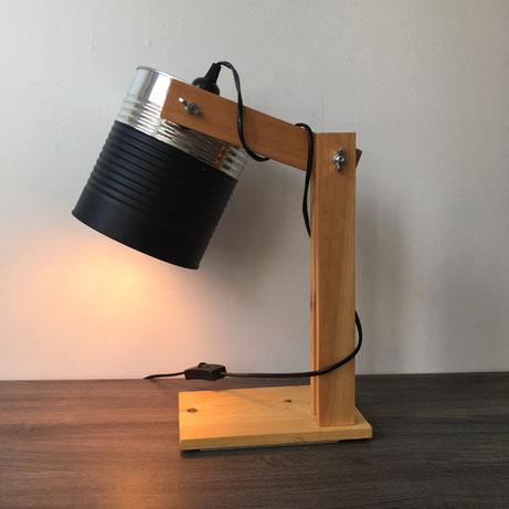 Lampe, noir, métal, bois, lampe industrielle, lampe fait main