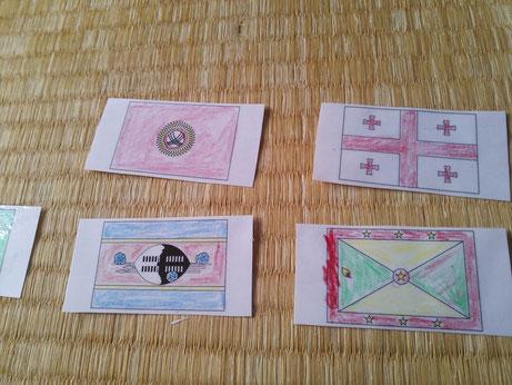 ラミネートで作った国旗のカード
