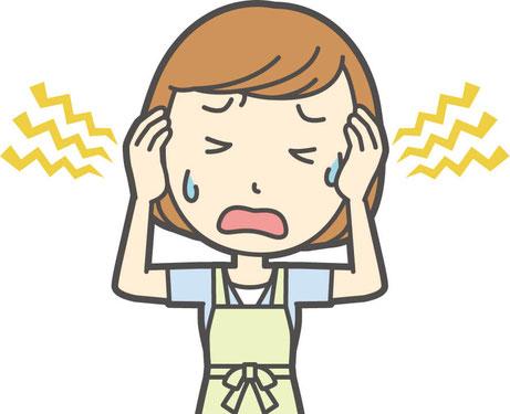 頭のコリがひどい人、頭が凝る人の頭痛、眼精疲労の画像イラスト