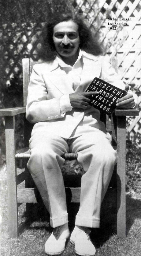 Meher Baba in Hollywood, CA. May-June 1932. Image courtesy of The Glow magazine. Picture possibly taken at the Jones' garden.
