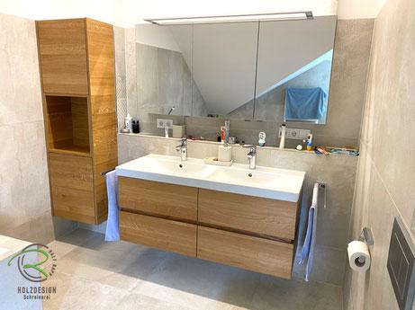 Badmöbel Eiche Massivholz mit Badezimmer-Hochschrank mit offenem Regalfach, wandhängender Badmöbel-Set in Eiche-Massivholz, Waschtischunterschrank mit Griffleiste in Eiche