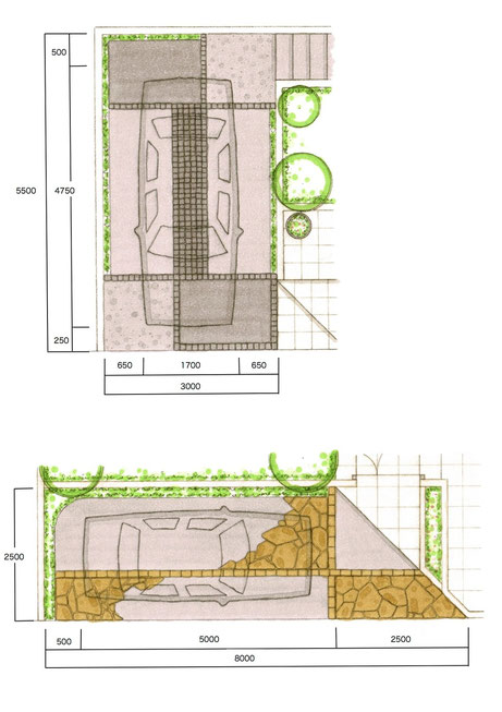 駐車スペース寸法・直角駐車(上)と並行駐車(下) ※図面下側が道路です