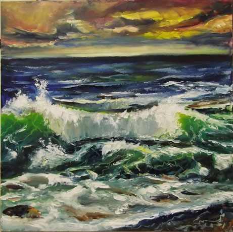 """The Wave at the Dusk"", oil, board, 50x50cm, 2014"