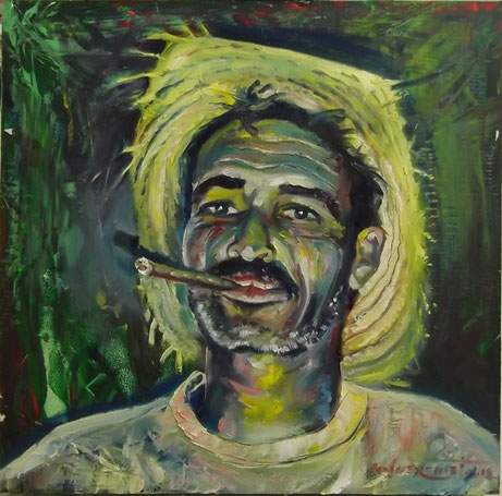 """Vinales Tobacco Farmer"", oil, board, 50x50cm, 2014"