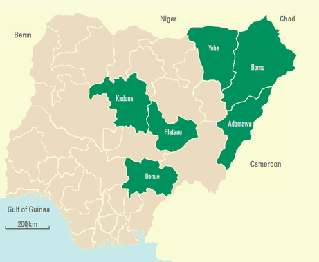 Map of the conflict in Nigeria