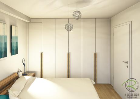 fotorealistische 3D-CAD Planung Kleiderschrank nach Maß in weiß & Eiche Griffleisten, Planung Maßschrank in weiß