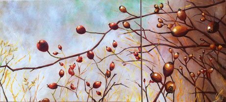 """rosehip new"", 2012,  acrylic on canvas, 50x110, 2-teilig"