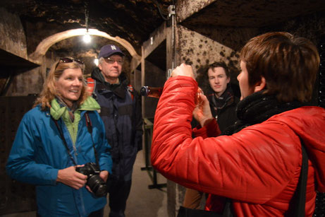 tour of a cellar in the rock in Vouvray