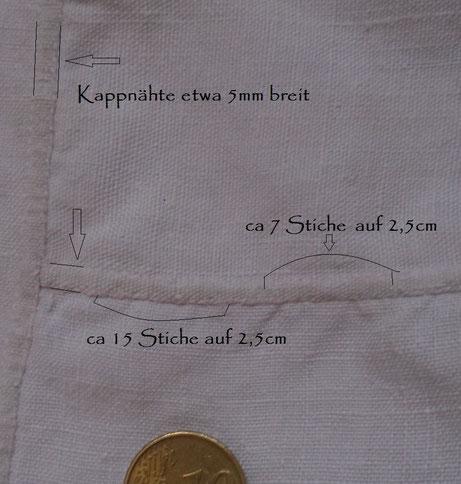 antikes Leinenhemd nach Art einer Chemise : Kappnaht von Hand