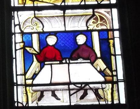 Bildbeispiel aus dem späten Mittelalter, breite Stoffbahnen wurden am überbreiten Webstuhl von 2 Menschen betrieben