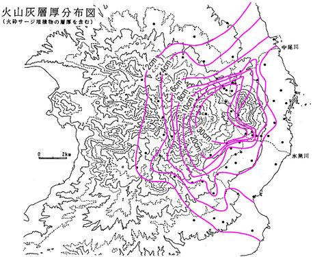 図3 降下火山灰層厚分布図(磯ほか,1996)