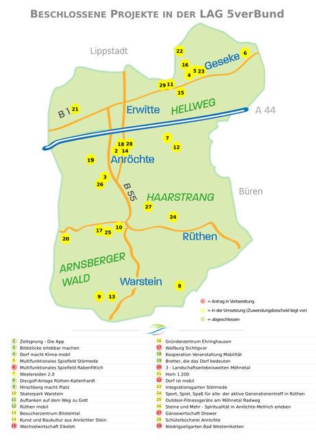 Lokalisierung und Umsetzungsstand der beschlossenen Projekte in der LAG 5verBund