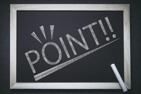 黒板に書かれたポイントの文字