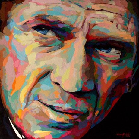 Ein farbgewaltiges, ausschließlich mit dem Palettenmesser gespachteltes Portrait in Acryl auf Leinen.