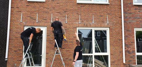 Gevelankers aanbrengen in de muur - aanbouw Goes