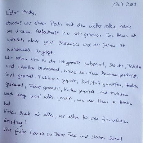 Auszug aus dem Gästebuch, Ferienhaus Kantolak, West-Masuren, Polen
