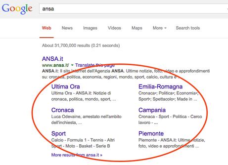 Esempio di risultati di ricerca su Google (SERP)