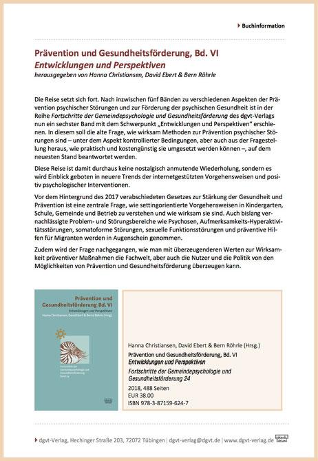 DGVT Buch Prävention Röhrle Arnhold