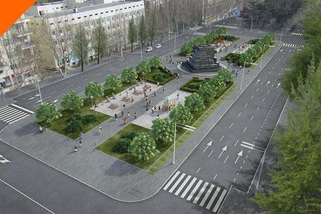 Estación de Metro y plaza en Tblisi, Georgia. Infoarquitectura 3D