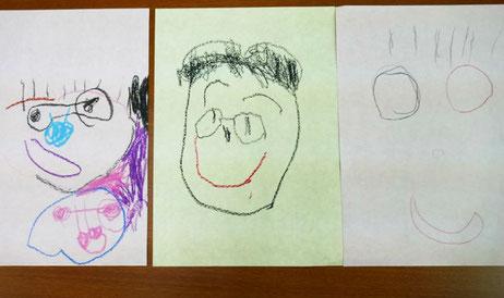 幼児教室の幼稚園児クラスで父の日のプレゼントを制作。描いたお父様の似顔絵が笑顔で素敵です。