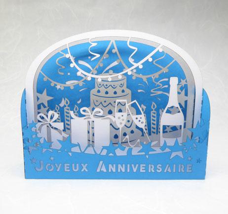 Carte d'anniversaire pop-up bleu et argent fabriquée en France
